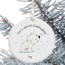Ceramic Goddaughter/Godson Keepsake Christmas Decoration - Polar Bear Cub Design